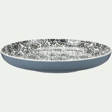 Assiette plate en porcelaine à motifs jasmin - gris D26,8cm-AIX