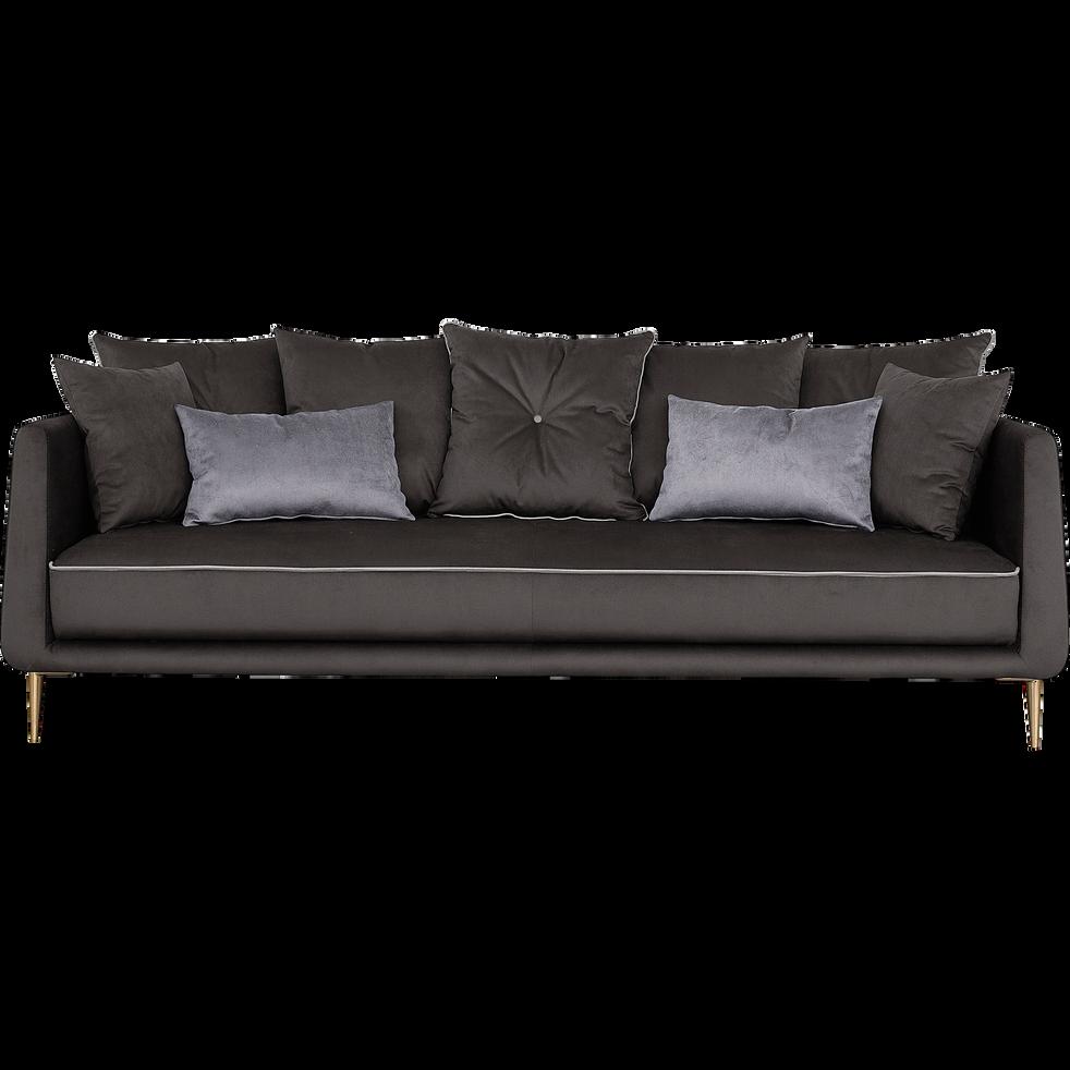 canap 4 places fixe en tissu noir calabrun astello canap s droits en tissu alinea. Black Bedroom Furniture Sets. Home Design Ideas