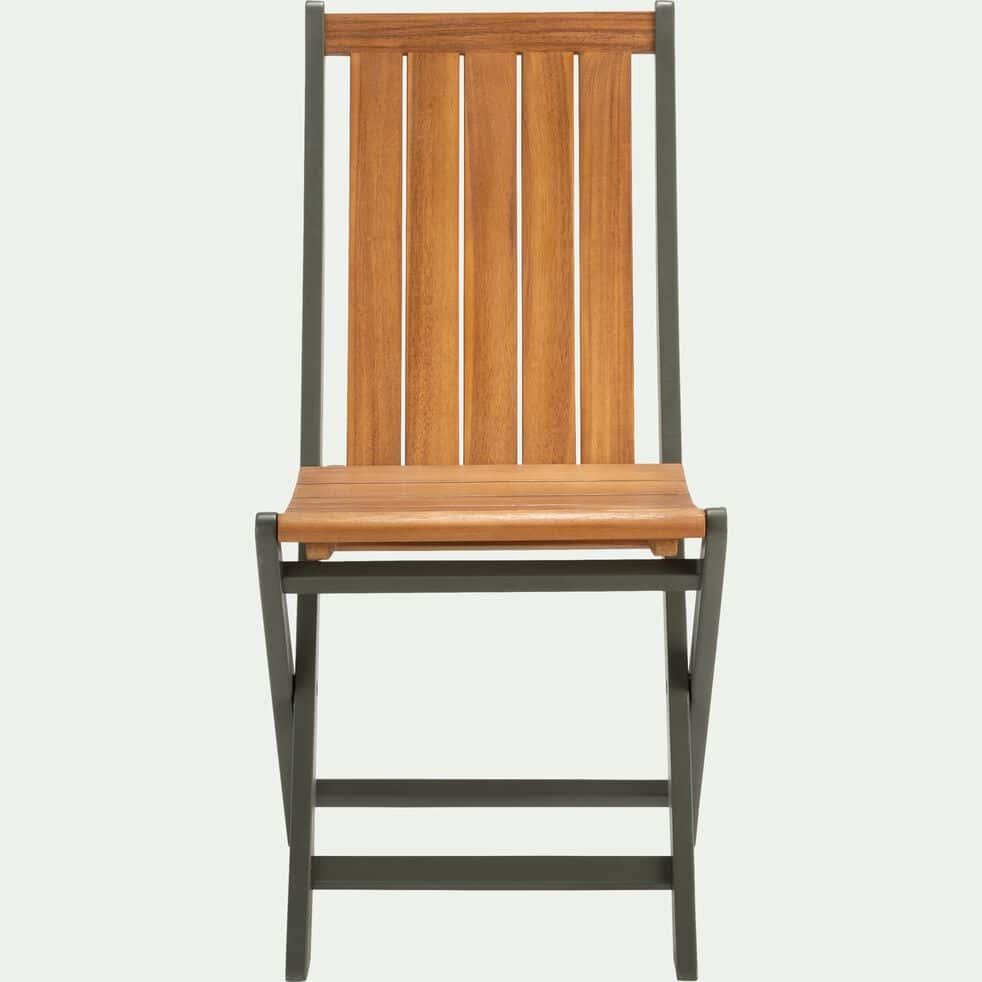 Chaise de jardin pliante en acacia vert cèdre-LAVANDOU