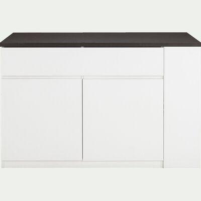Ilot central de cuisine en bois avec rangement réversible L140cm - blanc-GABIN