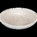 Assiette creuse en porcelaine blanche mouchetée D25cm-JEANNE