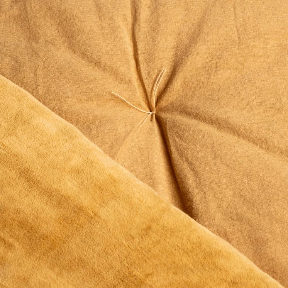 Édredon en velours beige nèfle 100x180cm-EDEN