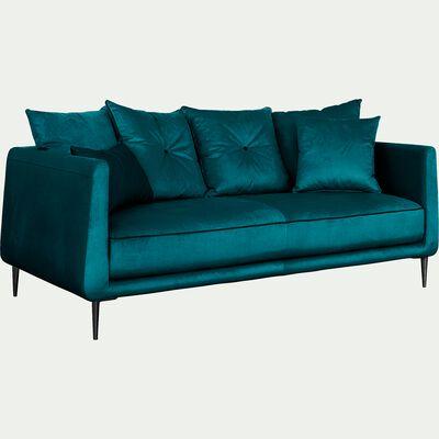 Canapé 3 places fixe en tissu bleu niolon-ASTELLO