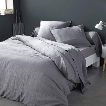 Linge de lit uni en lin gris restanque-VENCE