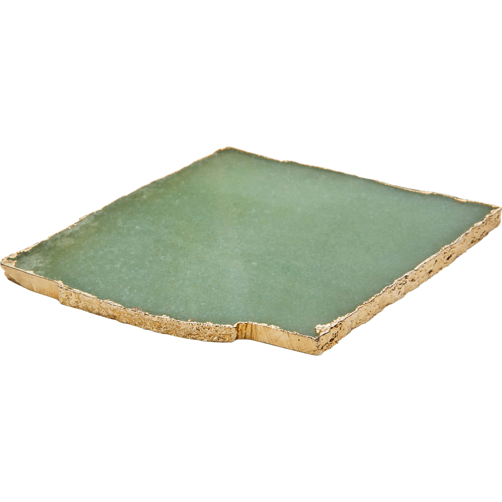 Dessous de verre en agate vert 10x10cm-RIONI