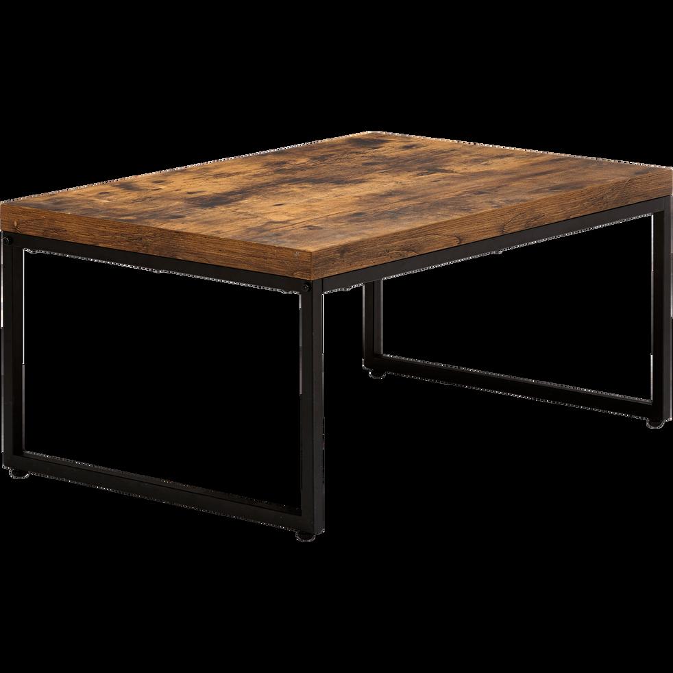 MANILLE - Table basse effet bois et acier