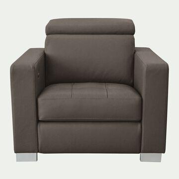 Fauteuil de relaxation en cuir - taupe-MAURO