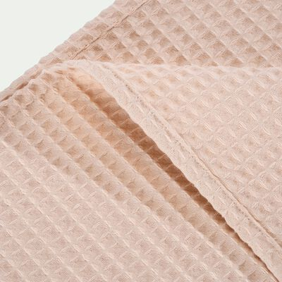 Plaid en coton gaufré rose grège 130x170cm-GOYA