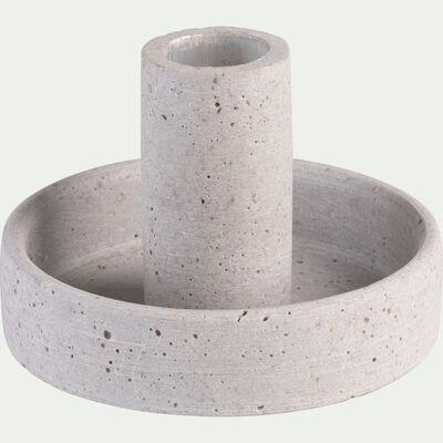 Bougeoir effet béton en polystone - gris H6cm-CALCIS