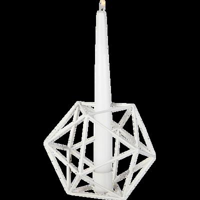 Bougeoir en métal blanc H13cm-SPRINT