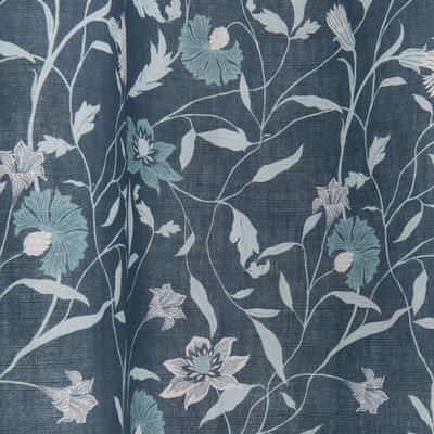 Voilage à oeillets en coton motif floral bleu 140x250cm-ASMARA