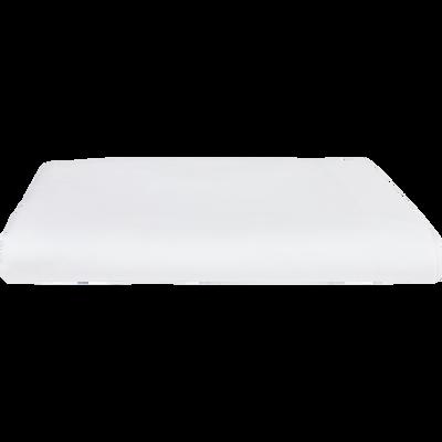 Drap plat en percale de coton blanc 270x300cm-FLORE