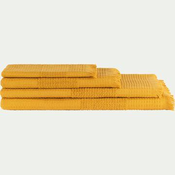 Linge de toilette bouclette et nid d'abeille en coton - jaune-TOMAR