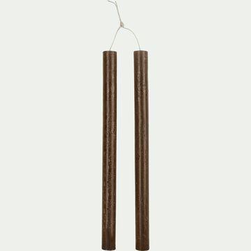 Lot de 2 bougies flambeaux - brun ombre H30cm-BEJAIA