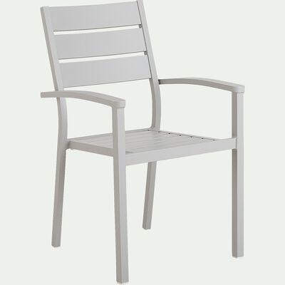 Chaise de jardin empilable avec accoudoirs en aluminium - gris borie-MARIA