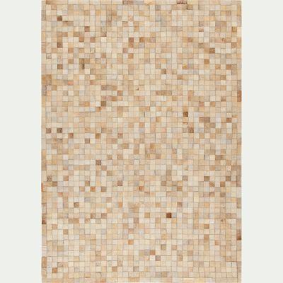 Tapis en cuir beige 140x200cm-LAYAN