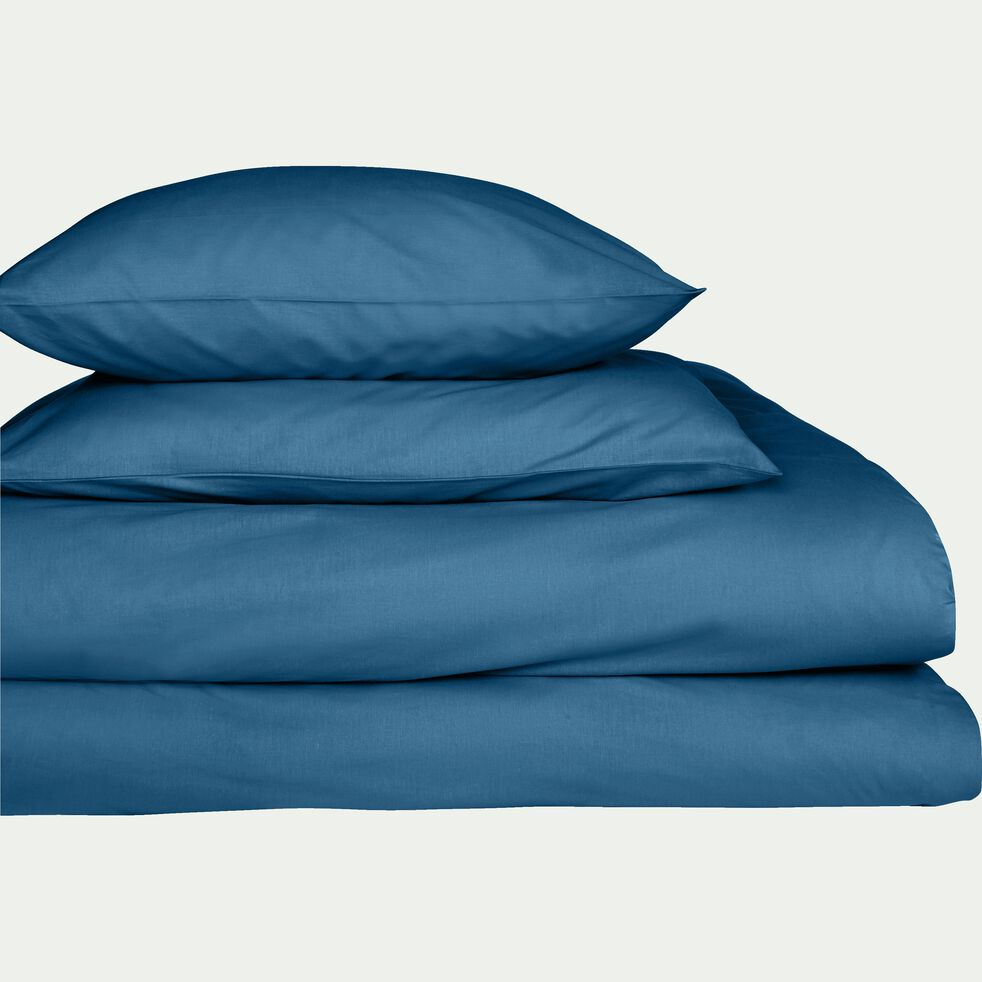 Drap housse en coton - bleu figuerolles 90x200cm B25cm-CALANQUES