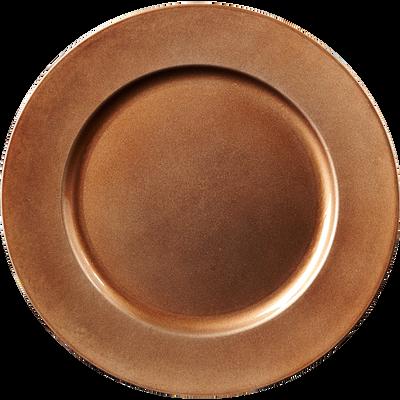 Assiette de présentation marron pailleté D33cm-Foly
