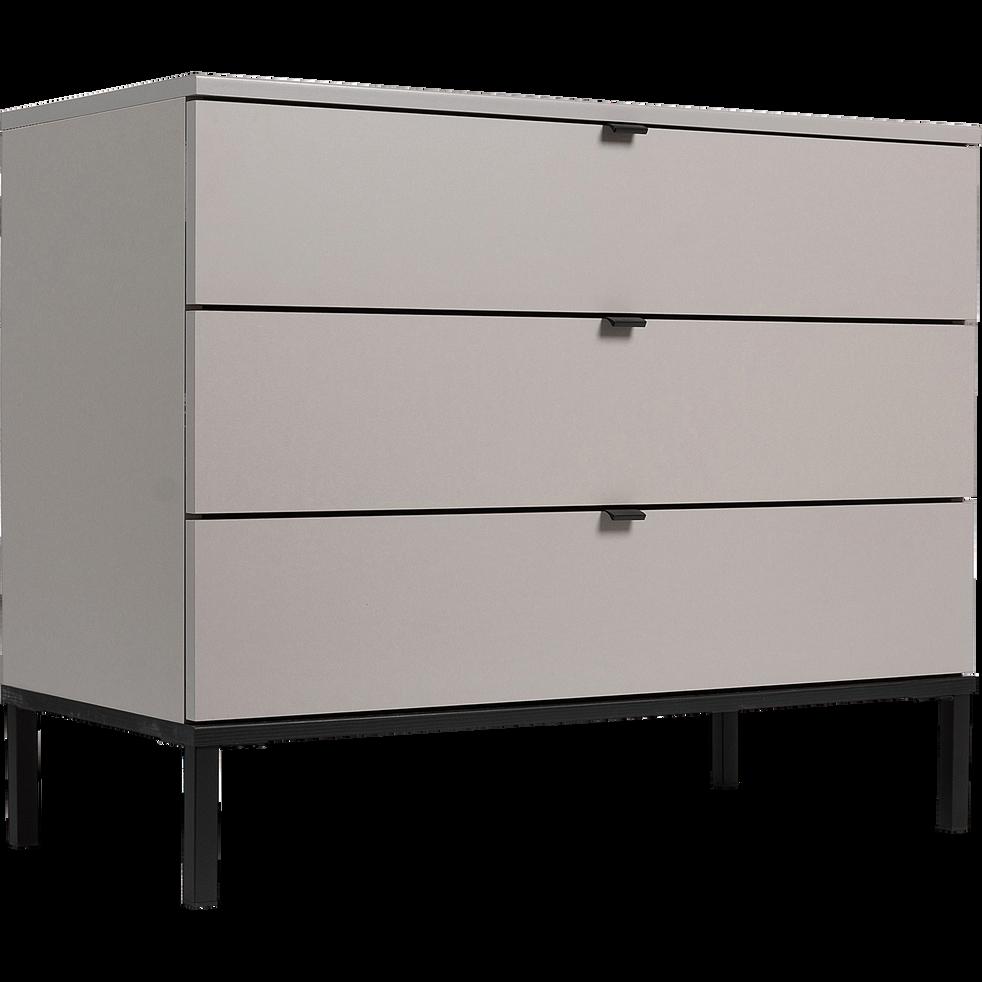 Commode 3 tiroirs en plaqué bois - gris-CASTEL