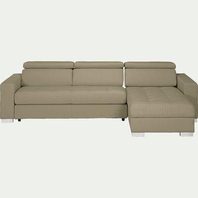Canapé d'angle fixe réversible en tissu taupe-Mauro