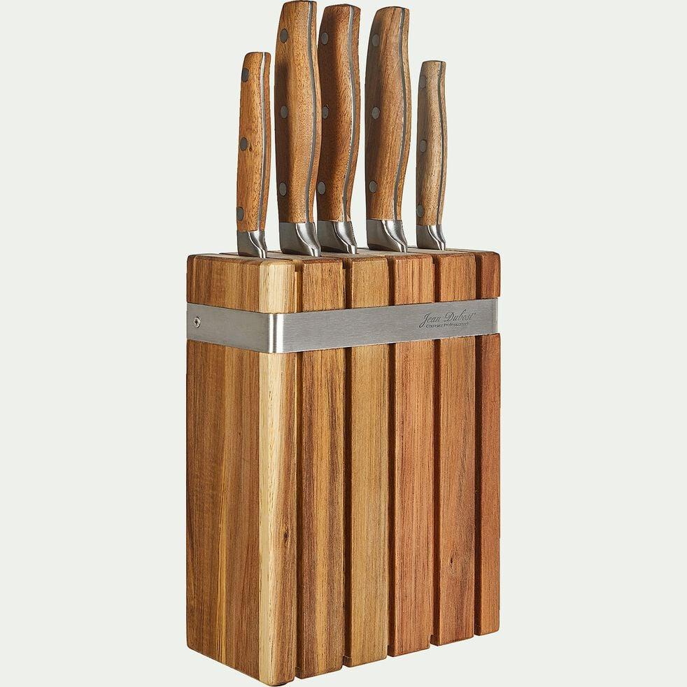 Bloc de couteaux en acier et acacia-ROC