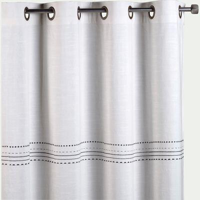 Rideau à œillets en coton brodé - blanc 140x250cm-Medine