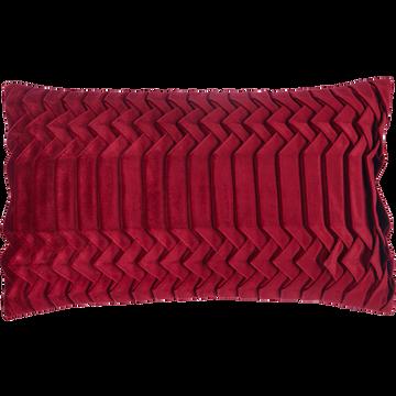 Coussin en velours plissé rouge 30x50cm-PATY