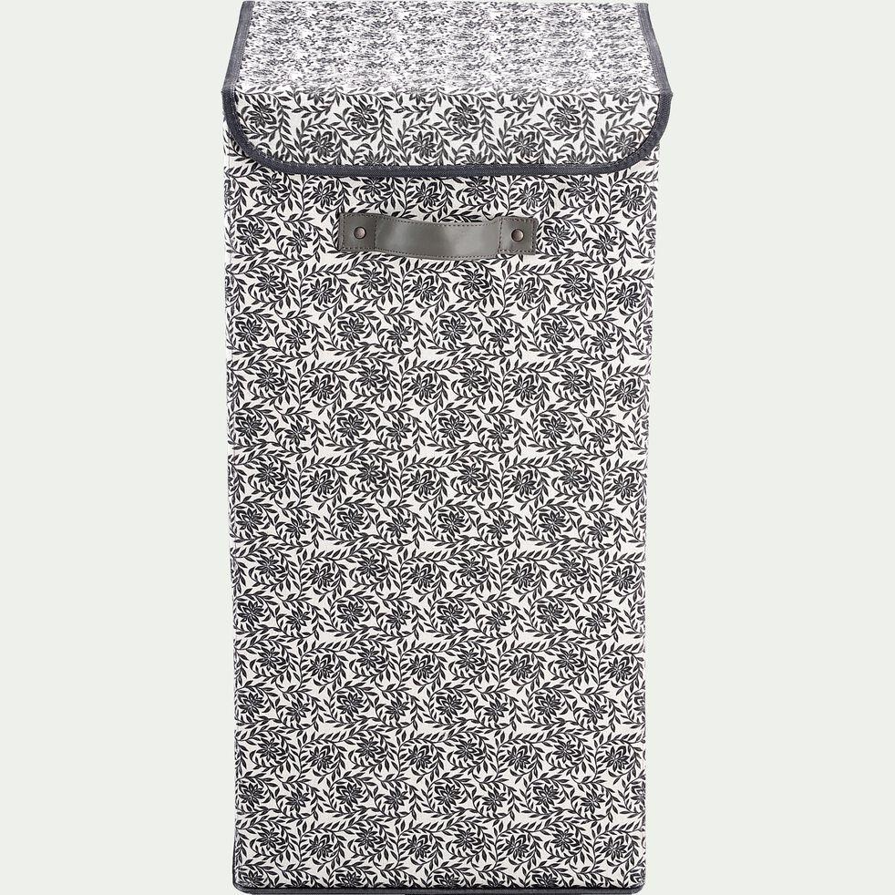 Panier à linge en polycoton motif jasmin - noir et blanc H60xL30cm-ERRO