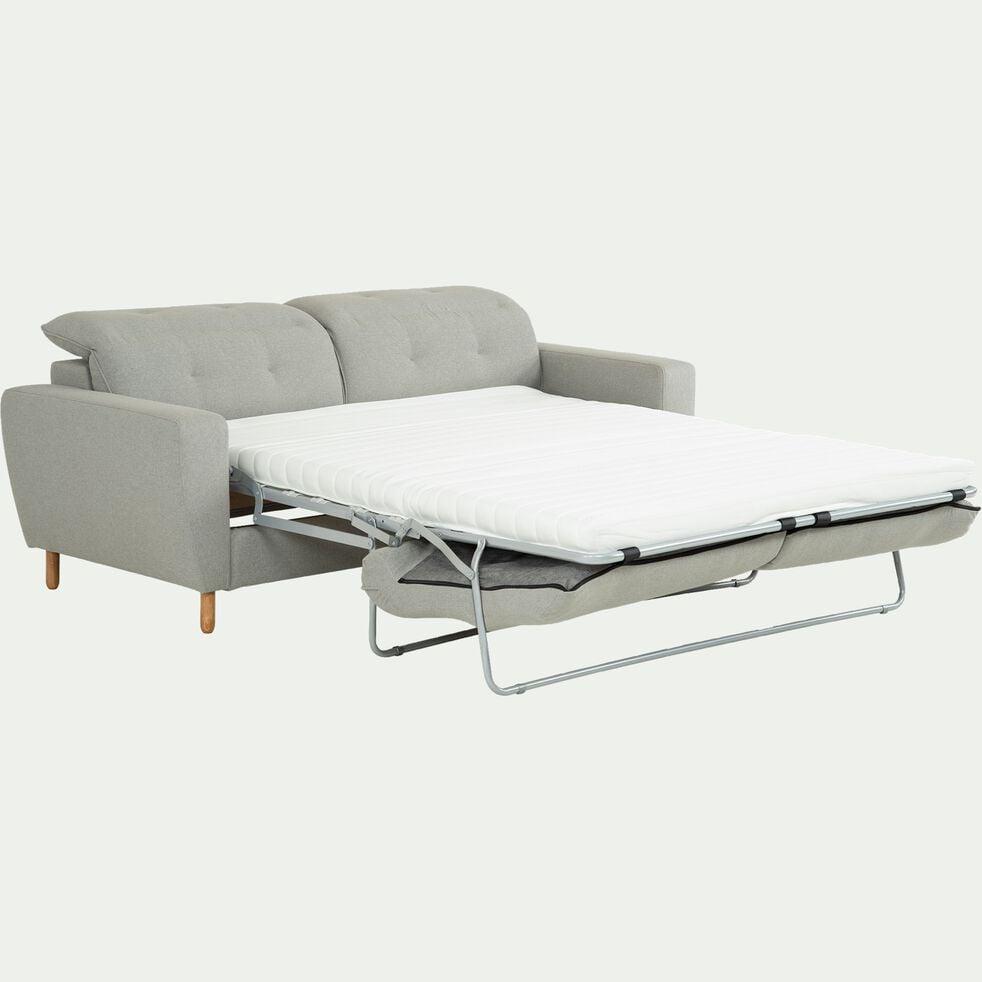 Canapé convertible 3 places en tissu avec têtière réglable - gris clair-ODYS