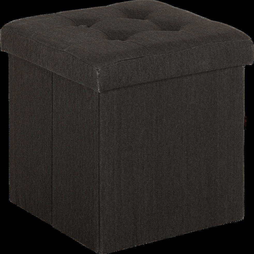 Pouf coffre coloris gris anthracite pliable-Oliver