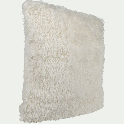 Housse de coussin imitation fourrure blanc - 65x65cm-ELEC