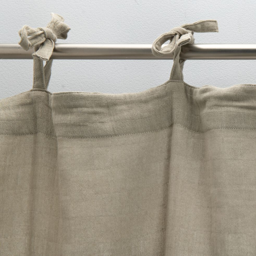 Rideau à nouettes en gaze de coton 140x250cm - beige alpilles-Nuage