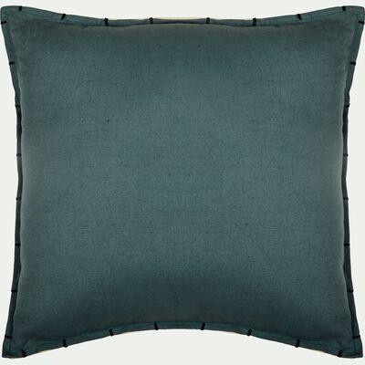 Coussin lin et coton 45x45cm vert-CALLELONGUE