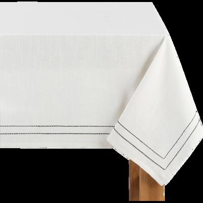 Nappe en coton blanc et noir 170x170cm-GALLIA