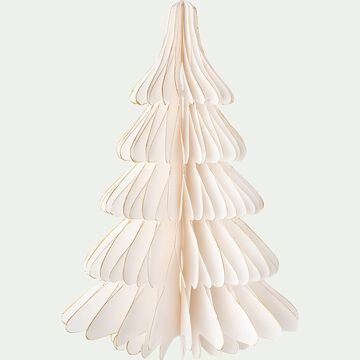 Sapin en papier - D17xH25cm blanc-ALPILLES