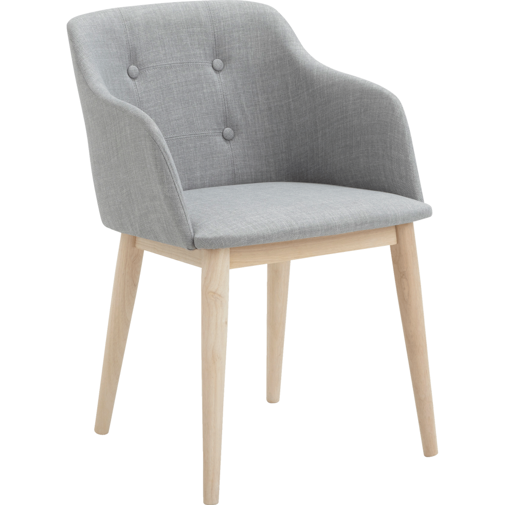 chaise capitonn e en tissu gris clair avec accoudoirs cork chaises alinea. Black Bedroom Furniture Sets. Home Design Ideas