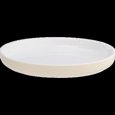 Assiette à dessert en porcelaine blanc nougat D19,8cm-LANAU