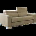 Canapé 3 places fixe en tissu microfibre marron noisette-MAURO