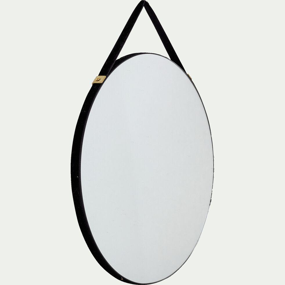 Miroir mural rond en velours - noir D20cm-BELISSO
