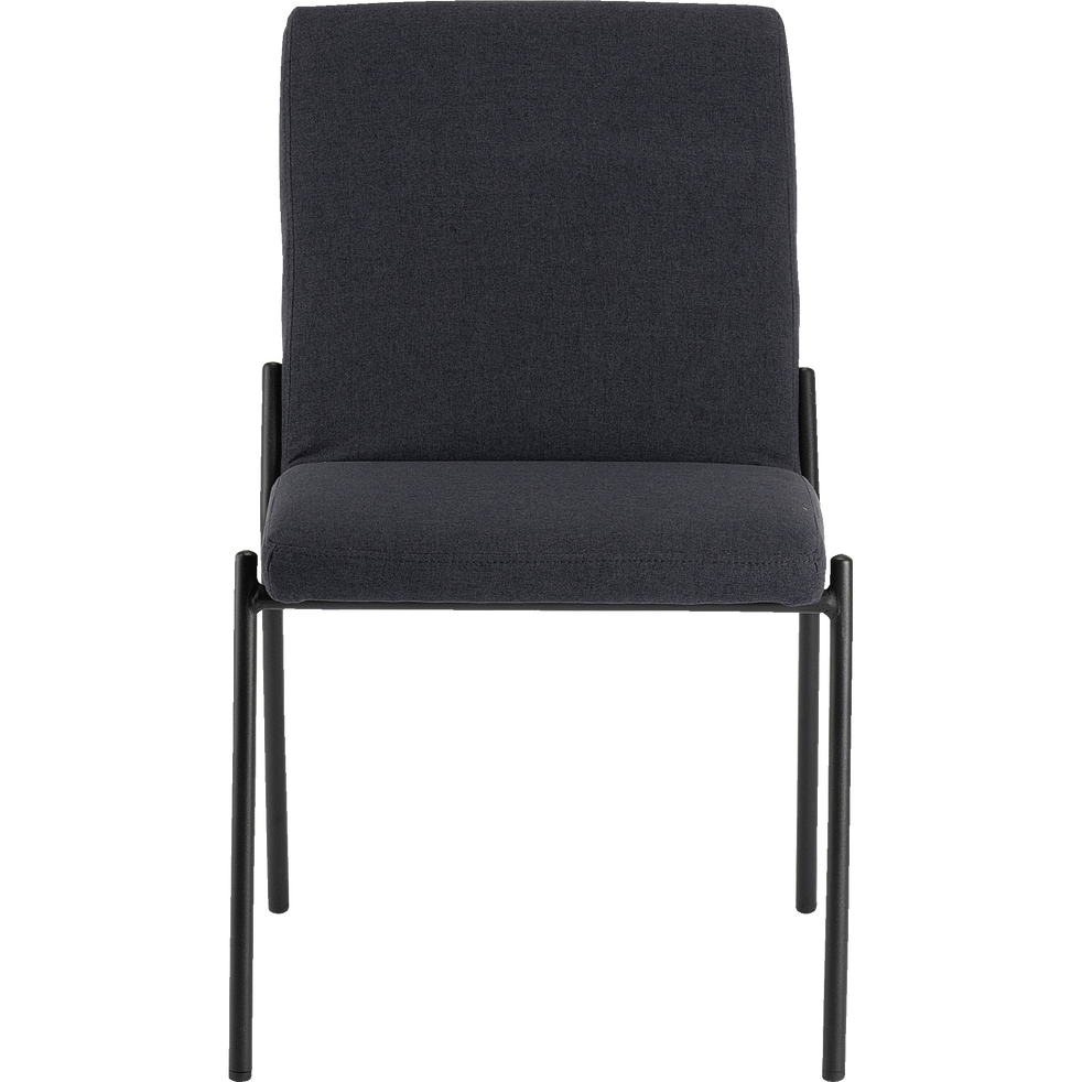 Chaise en tissu noir calabrun pieds noirs-JASPE