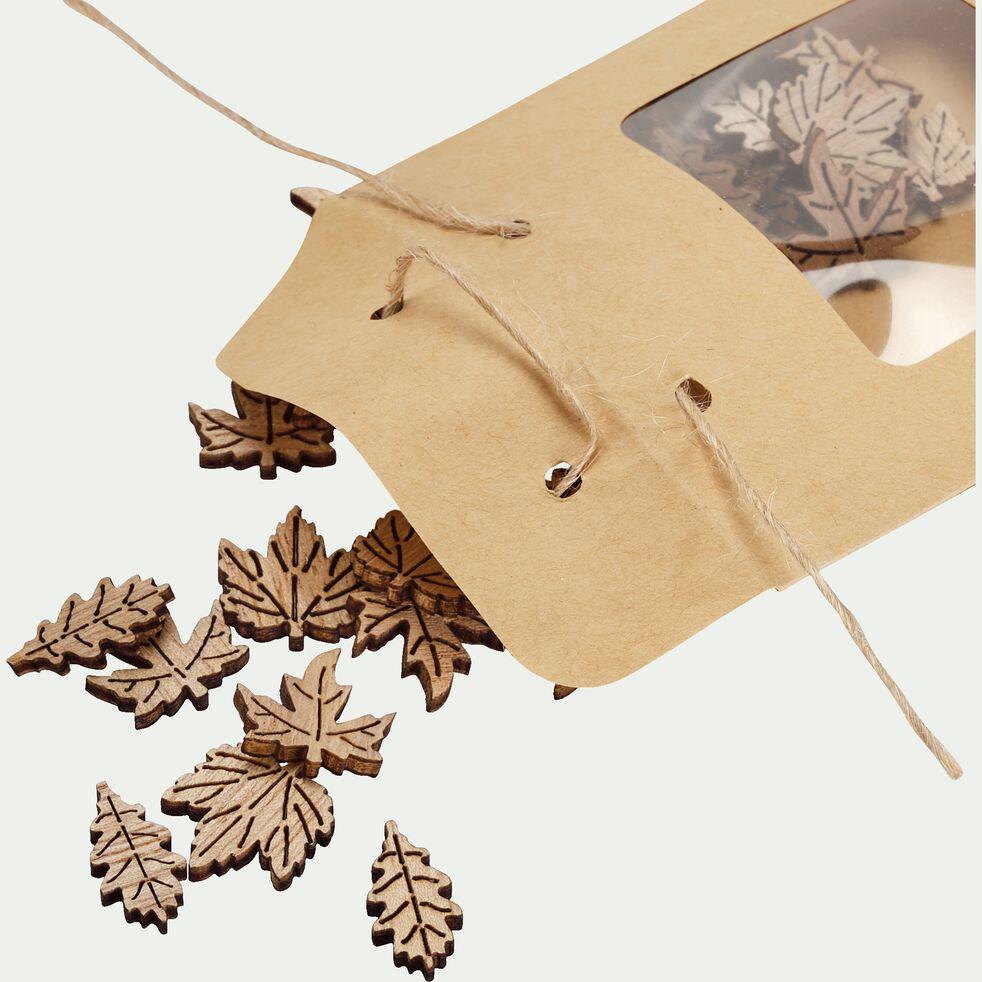 Feuilles déco en bois 0,3x1x2cm - naturel-AGAPES