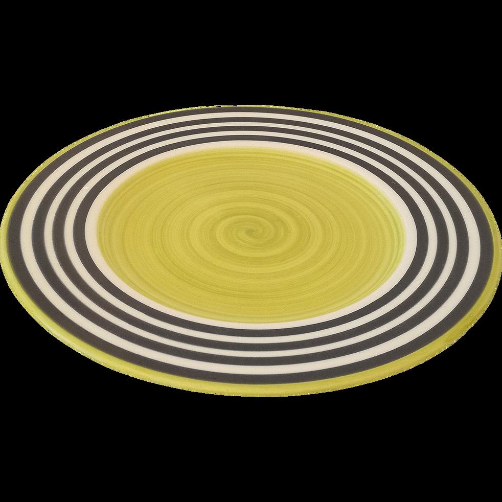 Assiette à dessert en faïence vert anis D22cm-PALAWAY