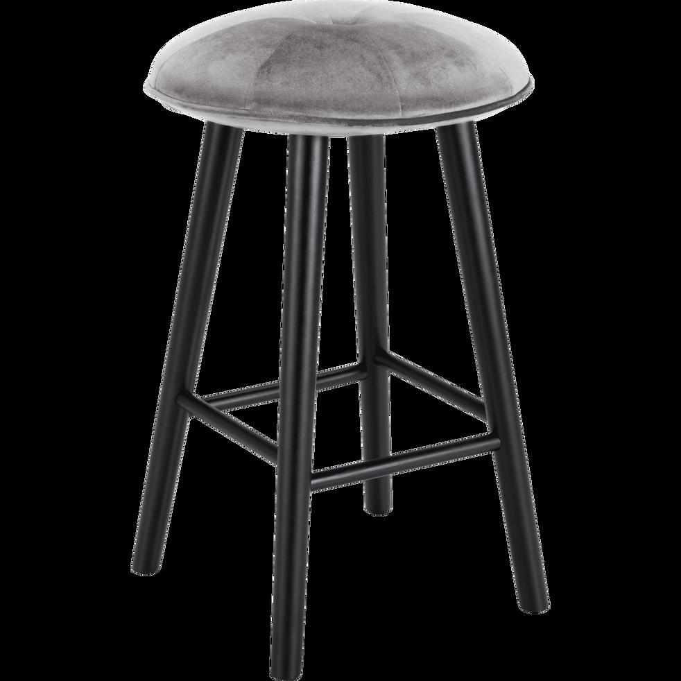 tabouret plan de travail en velours gris borie h66cm augustin tabourets fixes hauteur plan. Black Bedroom Furniture Sets. Home Design Ideas