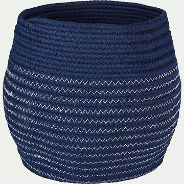 Panier déco en polycoton - bleu figuerolles H23xD21cm-Willy
