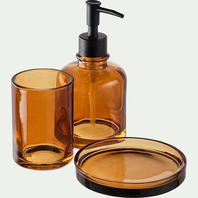 Porte-savon en verre - marron D12,5cm-OSCO