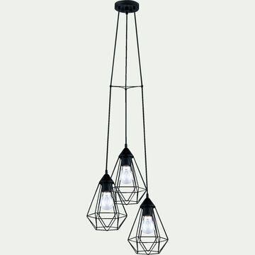 Suspension géométrique à 3 lumières en métal - noir D31cm-TARBES