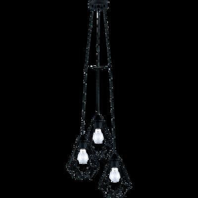 Suspension géométrique à 3 lumières en métal noir D31cm-TARBES