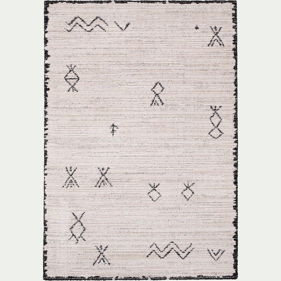 Tapis inspiration berbère - écru et noir 160x230cm-Aydan