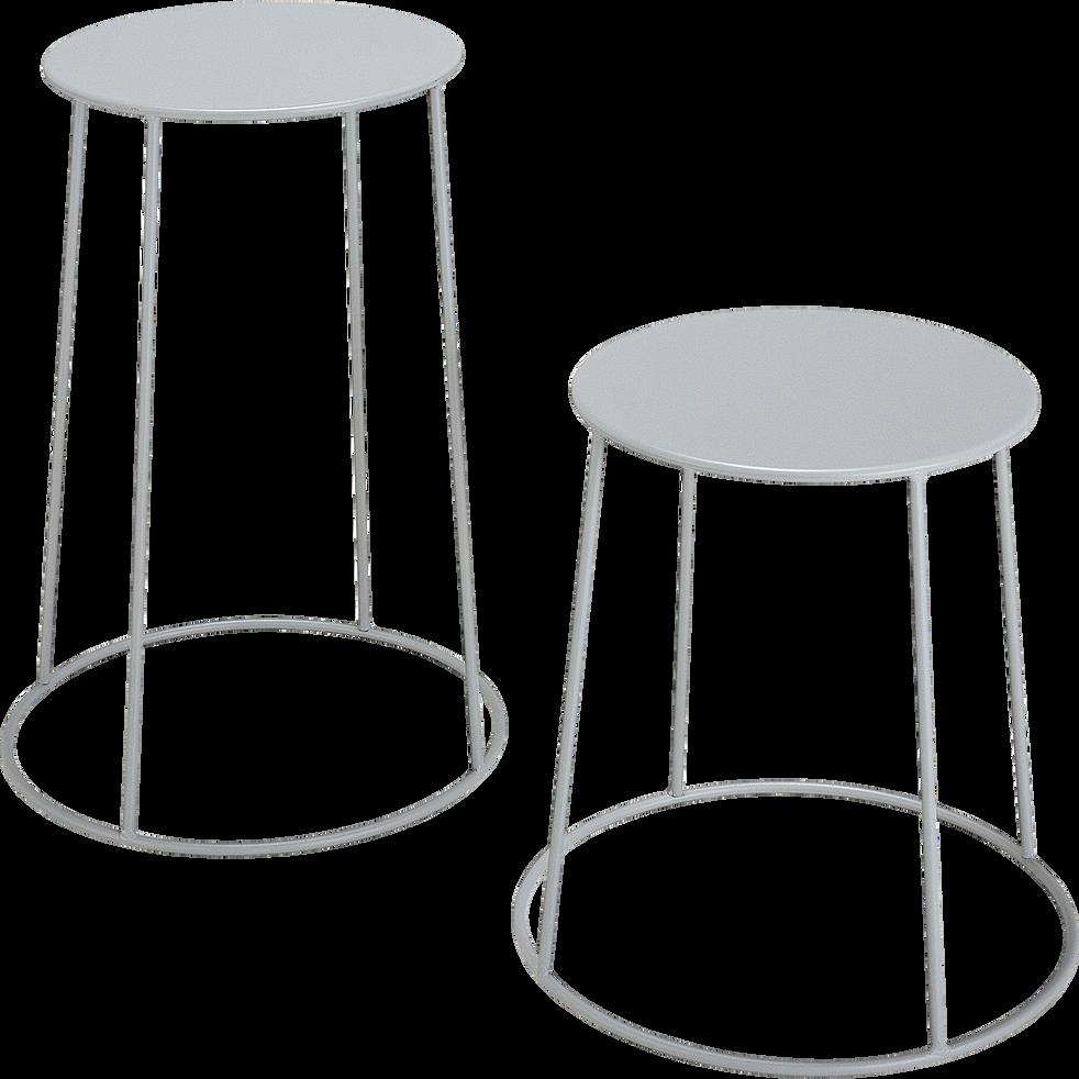 Table d'appoint de jardin - gris vesuve  (D34cmxH43cm)-Ikaria