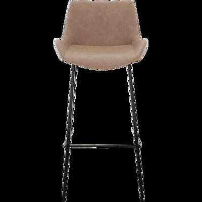 Chaise de bar en simili beige - H75cm-GEDEON